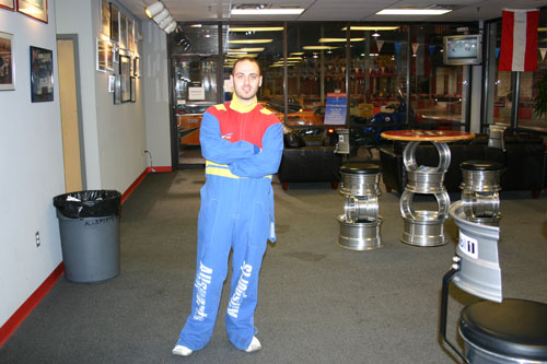 Dave in race suit