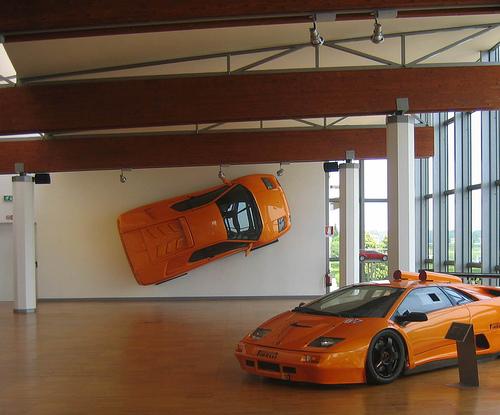 Lamborghini Diablo hanging from the wall