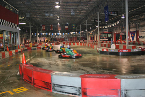 Driving around in go carts