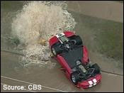 Dodge Viper flipped over a fire hydrant