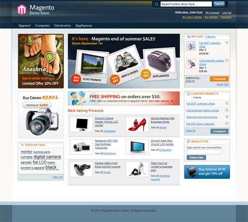 Screenshot of Magento