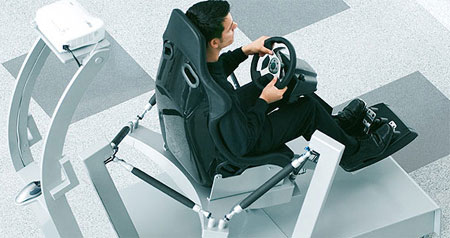 Festo race car driving simulation seat