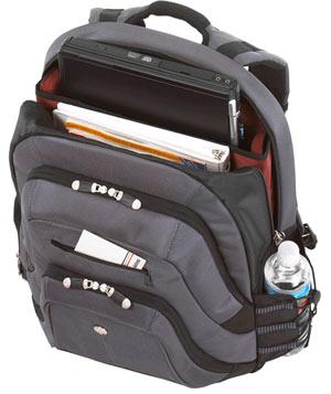 Targus 15.4 Monogram Backpack in Slate with burgundy lining