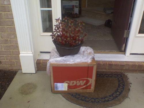 UPS box in the rain