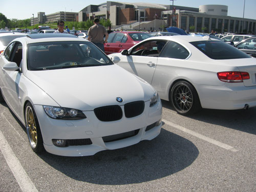 White BMW 335i\'s with custom wheels. A gorgeous orange Lamborghini Diablo
