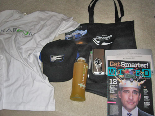 Freebies from Lexus performance driving academy