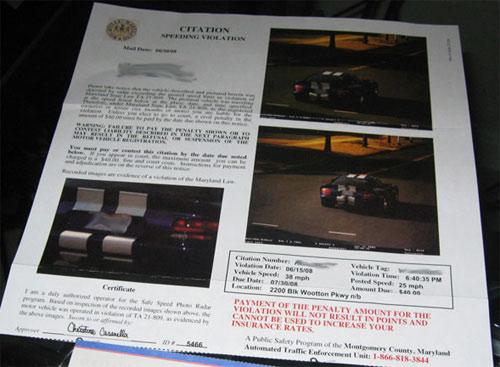 Viper speeding citation
