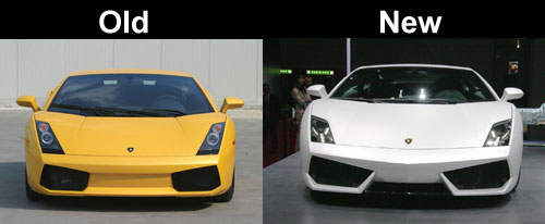 Lamborghini Gallardo old vs new front