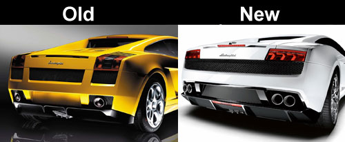 Lamborghini Gallardo old vs new rear