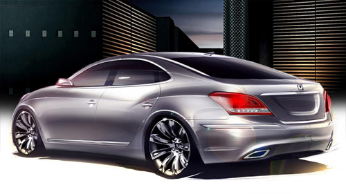 Hyundai Equus rear sketch